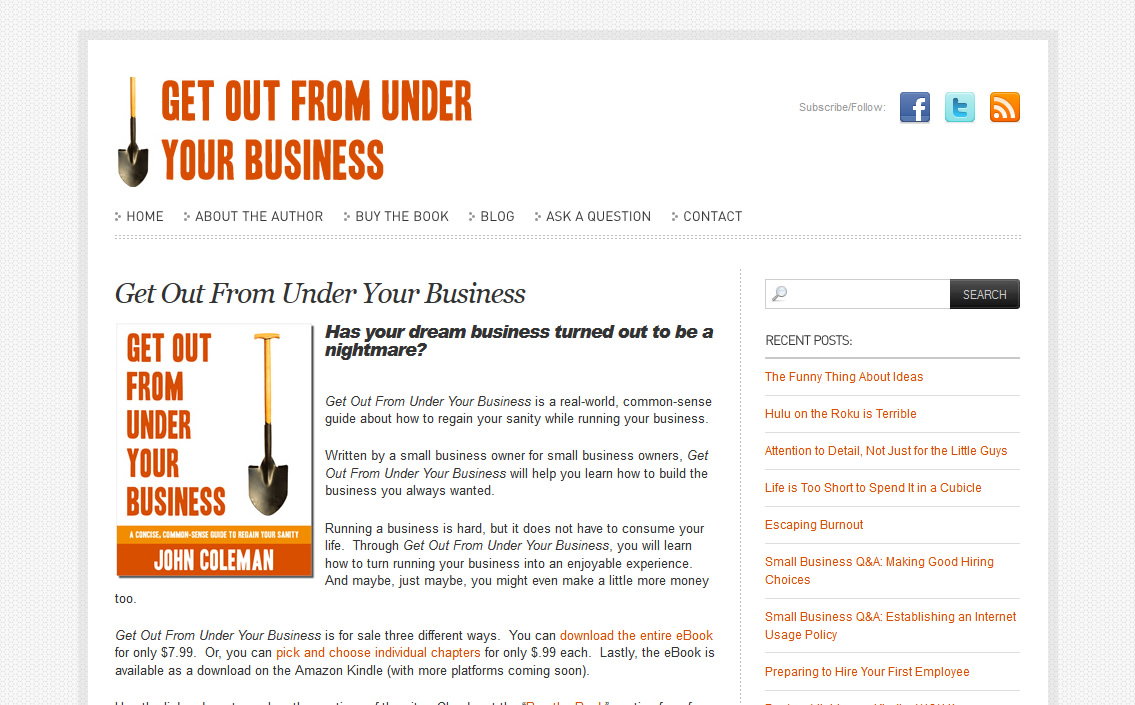 Get Out from Under Your Business Book Site
