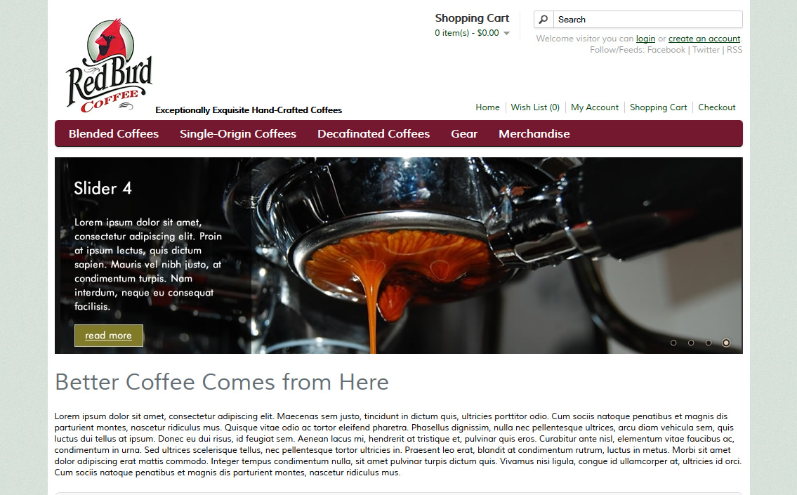 Redbird Coffee Ecommerce Site Concept
