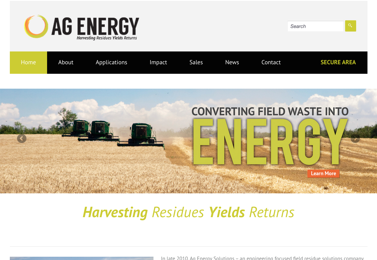 AgEnergy – Responsive (WordPress) Website for Local Alternative Energy Company